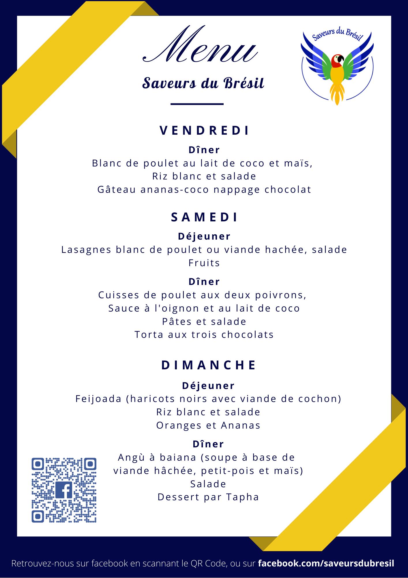 création graphique d'un menu saveurs du brésil