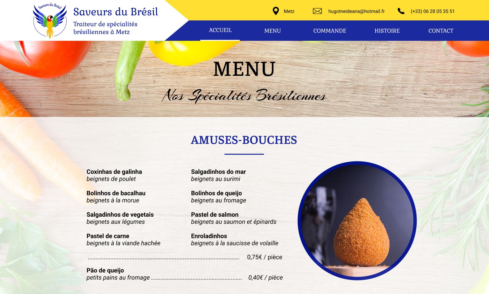 maquette graphique site web saveurs du brésil